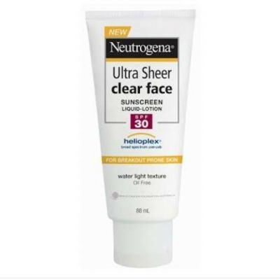 Ulta Sheer Clear Face Sunscreen