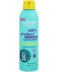 Alba Botanica Very Emollient Mineral Sunscreen Herbal Fresh Spray SPF 35